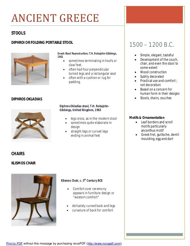 Furniture timeline assignment for Greek interior design history