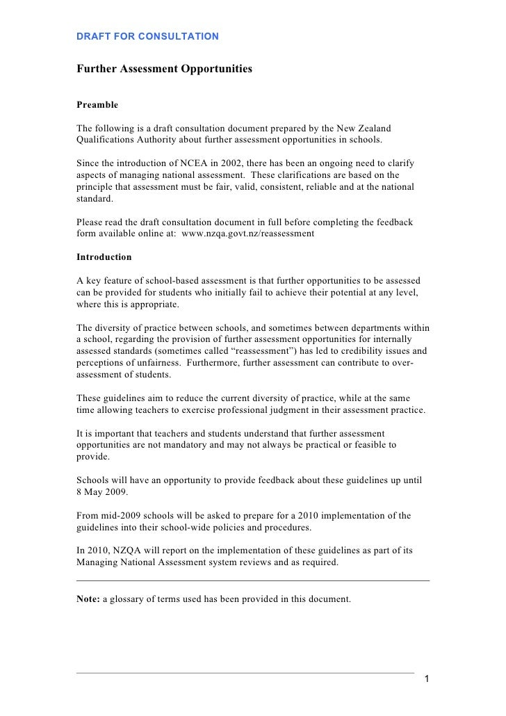 DRAFT FOR CONSULTATION   Further Assessment Opportunities  Preamble  The following is a draft consultation document prepar...