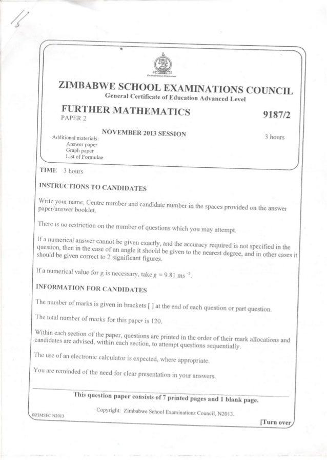 Bestseller: November 2013 Zimsec Paper 1 Mathematics