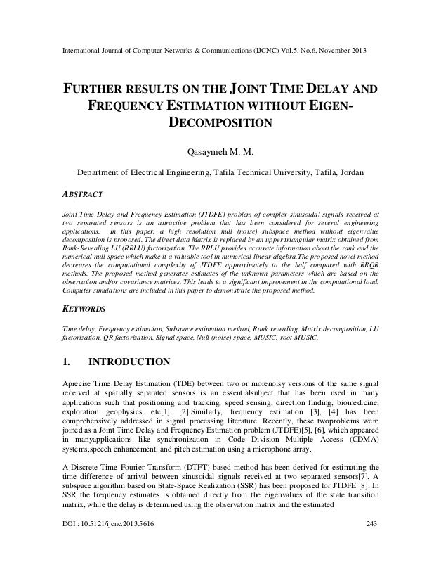 International Journal of Computer Networks & Communications (IJCNC) Vol.5, No.6, November 2013  FURTHER RESULTS ON THE JOI...