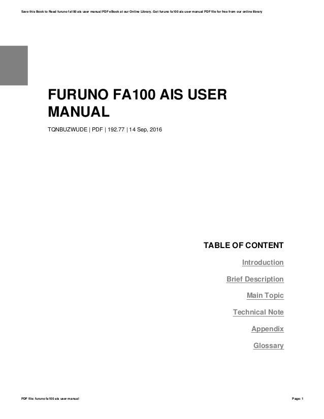 furuno fa100 ais user manual rh slideshare net furuno universal ais fa 100 manual Furuno Radar
