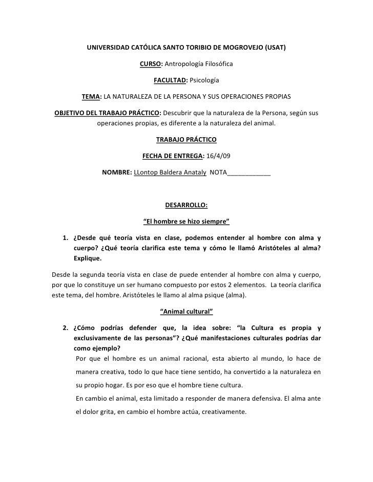 UNIVERSIDAD CATÓLICA SANTO TORIBIO DE MOGROVEJO (USAT)                              CURSO: Antropología Filosófica        ...