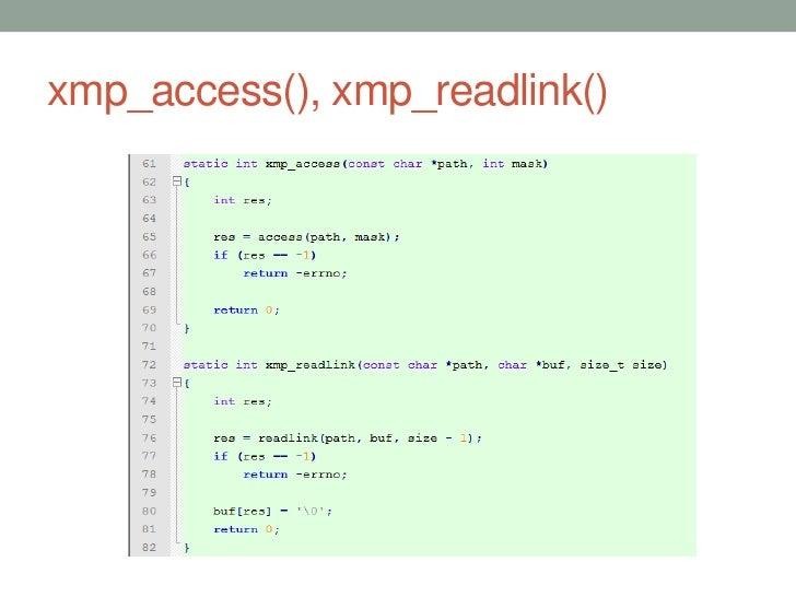 xmp_access(), xmp_readlink()                               37