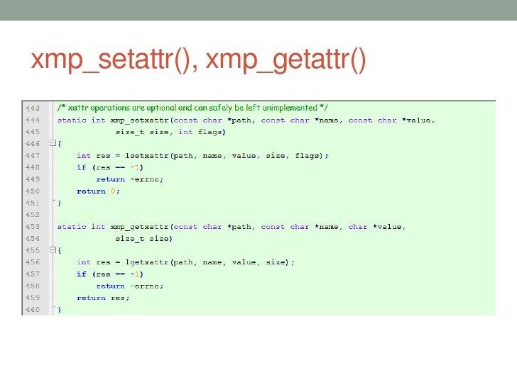 xmp_setattr(), xmp_getattr()                               53