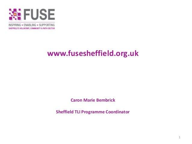 www.fusesheffield.org.uk Caron Marie Bembrick Sheffield TLI Programme Coordinator 1