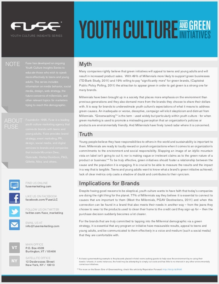 YOUTH CULTURE INSIGHTS SERIESNOTE     Fuse has developed an ongoing         Youth Culture Insights Series to              ...