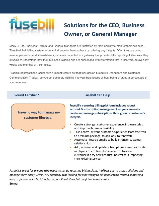 Sound Familiar? Fusebill Can Help.Many CEOs, Business Owners, and General Managers are frustrated by their inability to mo...
