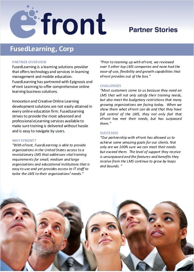 FusedLearning, CorpPARTNER OVERVIEWFusedLearning is a learning solutions providerthat offers technology and services in le...