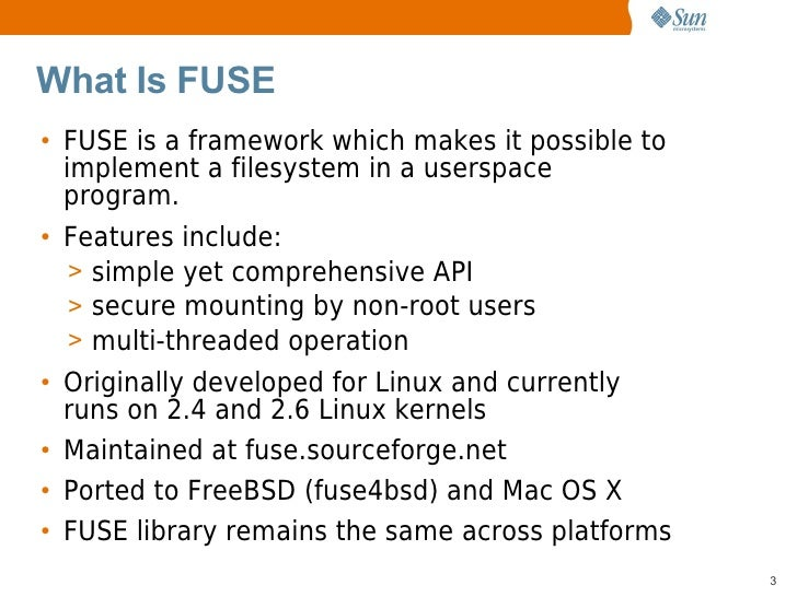 FUSE (Filesystem in Userspace) on OpenSolaris
