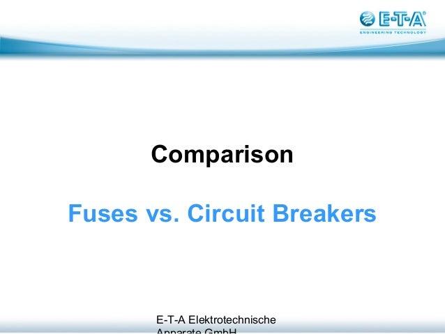 E-T-A Elektrotechnische Comparison Fuses vs. Circuit Breakers