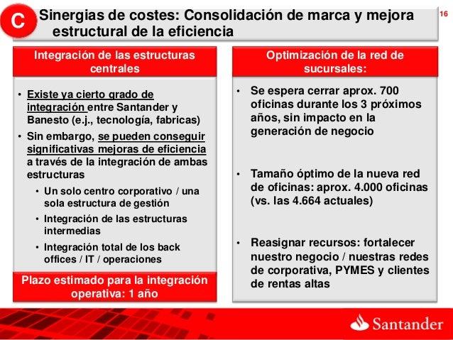 Sinergias de costes: Consolidación de marca y mejora                          16C     estructural de la eficiencia    Inte...