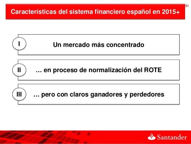 21Características del sistema financiero español en 2015+  I          Un mercado más concentrado  II    … en proceso de no...