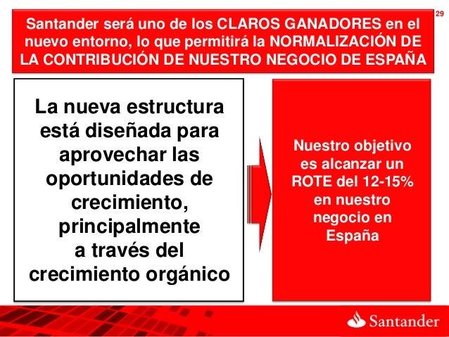 29 Santander será uno de los CLAROS GANADORES en el nuevo entorno, lo que permitirá la NORMALIZACIÓN DELA CONTRIBUCIÓN DE ...