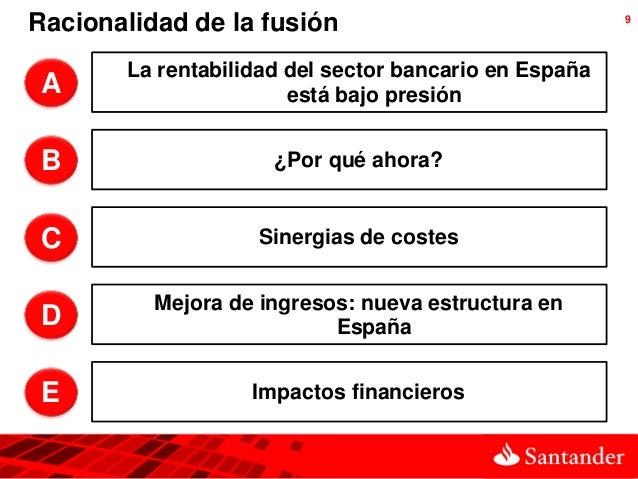 Racionalidad de la fusión                              9       La rentabilidad del sector bancario en EspañaA             ...