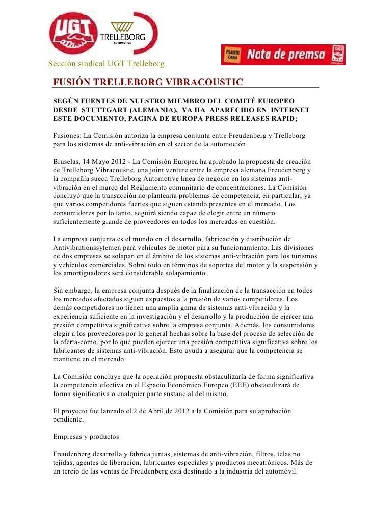 Sección sindical UGT Trelleborg FUSIÓN TRELLEBORG VIBRACOUSTIC SEGÚN FUENTES DE NUESTRO MIEMBRO DEL COMITÉ EUROPEO DESDE S...