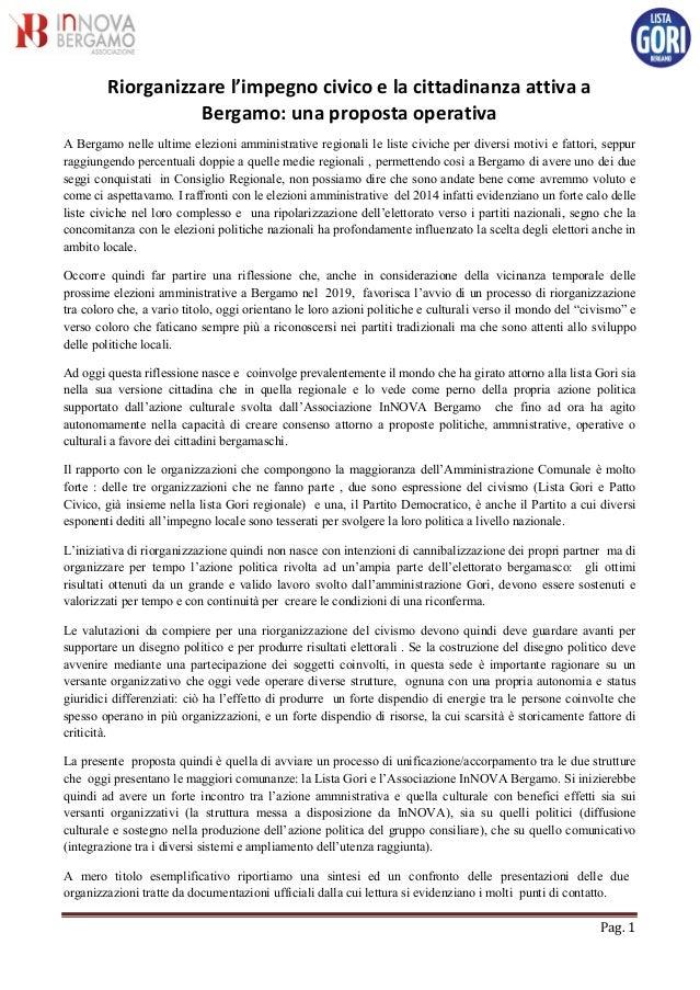 Pag. 1 Riorganizzare l'impegno civico e la cittadinanza attiva a Bergamo: una proposta operativa A Bergamo nelle ultime el...