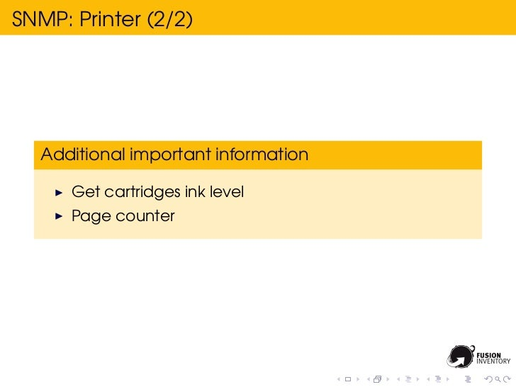 SNMP: Printer (2/2)  Additional important information      Get cartridges ink level      Page counter