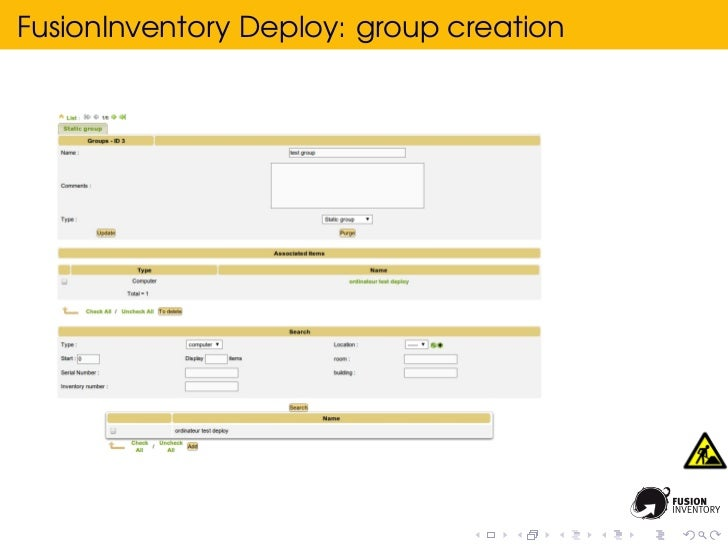 FusionInventory Deploy: group creation
