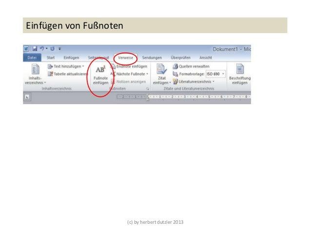(c) by herbert dutzler 2013Einfügen von Fußnoten