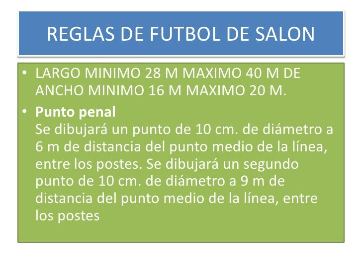 Futbol de salon for 10 reglas del futbol de salon