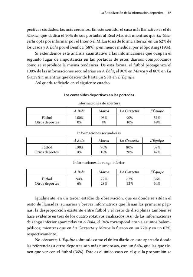   87La futbolización de la información deportiva pectivas ciudades, los más cercanos. En este sentido, el caso más llamati...