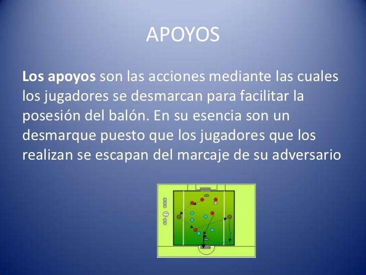APOYOSLos apoyos son las acciones mediante las cualeslos jugadores se desmarcan para facilitar laposesión del balón. En su...