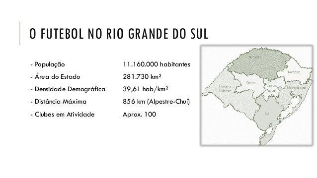 O FUTEBOL NO RIO GRANDE DO SUL - População 11.160.000 habitantes - Área do Estado 281.730 km² - Densidade Demográfica 39,6...