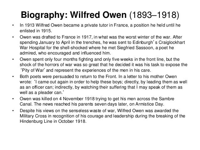 futility by wilfred owen essay Futility ultimately questions life's motives and offers neither religious comfort nor reasoning for war essay about wilfred owen wilfred owen essay.