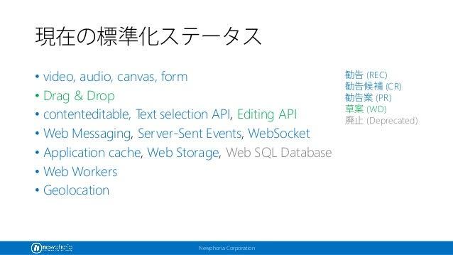 Newphoria Corporation 現在の標準化ステータス • video, audio, canvas, form • Drag & Drop • contenteditable, Text selection API, Editin...