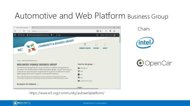 Newphoria Corporation Automotive and Web Platform Business Group https://www.w3.org/community/autowebplatform/ Chairs