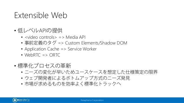 Newphoria Corporation Extensible Web • 低レベルAPIの提供 • <video controls> => Media API • 事前定義のタグ => Custom Elements/Shadow DOM ...