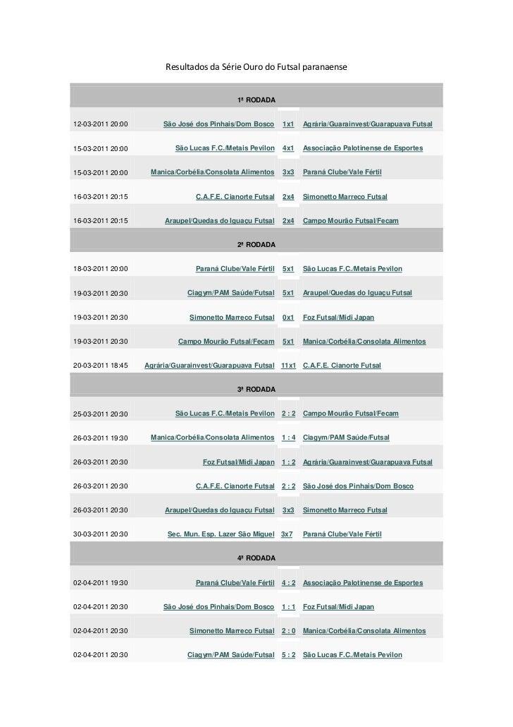 Resultados da Série Ouro do Futsal paranaense<br />1ª RODADA12-03-2011 20:00São José dos Pinhais/Dom Bosco1x1Agrária/Guara...
