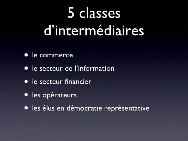 5 classes d'intermédiaires <ul><li>le commerce </li></ul><ul><li>le secteur de l'information </li></ul><ul><li>le secteur ...