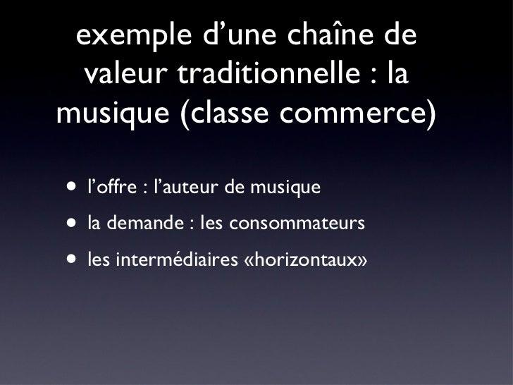 exemple d'une chaîne de valeur traditionnelle : la musique (classe commerce) <ul><li>l'offre : l'auteur de musique </li></...