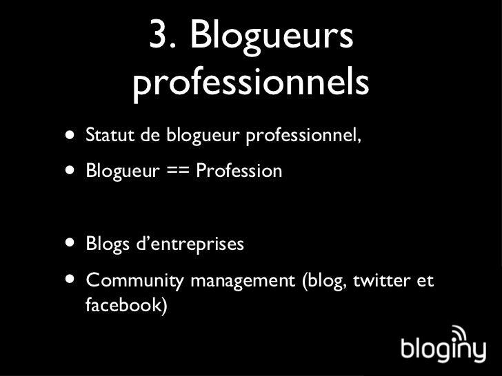 3. Blogueurs professionnels <ul><li>Statut de blogueur professionnel, </li></ul><ul><li>Blogueur == Profession </li></ul><...