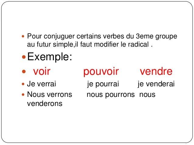Futur Des Verbes Du 3eme Groupe
