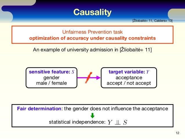 Causality 12 [Žliobaitė+ 11, Calders+ 13] sensitive feature: S gender male / female target variable: Y acceptance accept /...