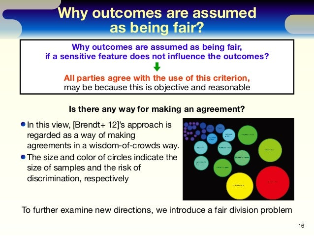 Why outcomes are assumed as being fair? 16 Why outcomes are assumed as being fair, if a sensitive feature does not influenc...