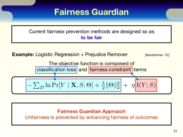 Fairness Guardian 21 Current fairness prevention methods are designed so as to be fair Example: Logistic Regression + Prej...