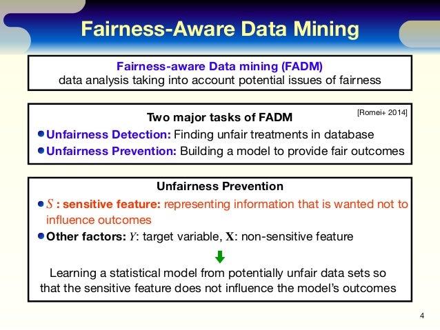 Fairness-Aware Data Mining 4 Fairness-aware Data mining (FADM) data analysis taking into account potential issues of fairn...