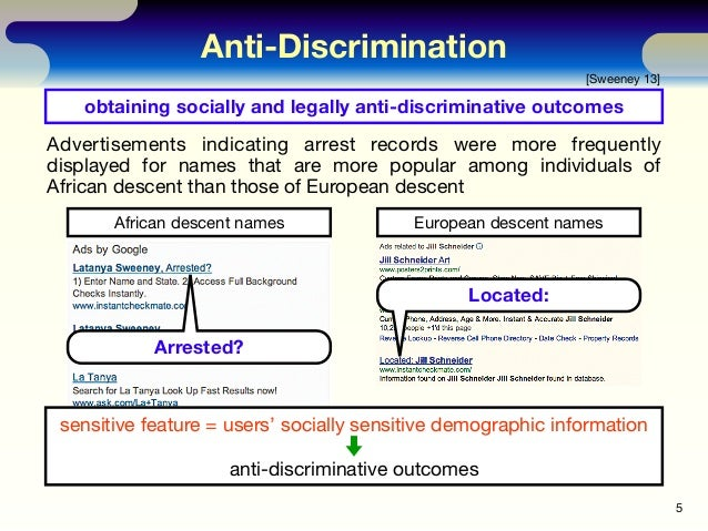 Anti-Discrimination 5 [Sweeney 13] obtaining socially and legally anti-discriminative outcomes African descent names Europ...
