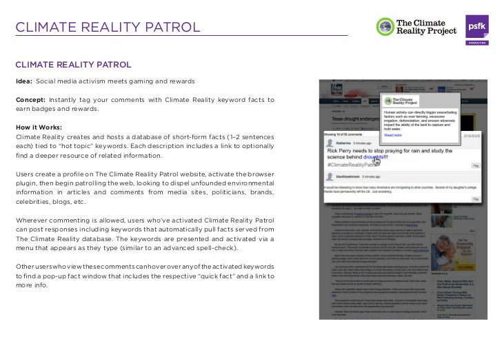 CLIMATE REALITY PATROLEach post would include #ClimateRealityPatrol and/or @ClimateRealityPatrol atthe end by default, to ...