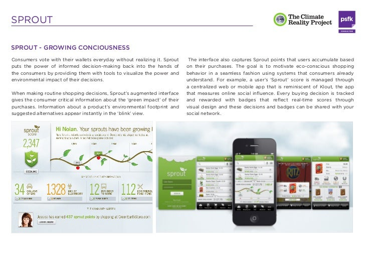 SPROUTSprout will let customers customize their shopping to achieve greener       about how they are treating the environm...
