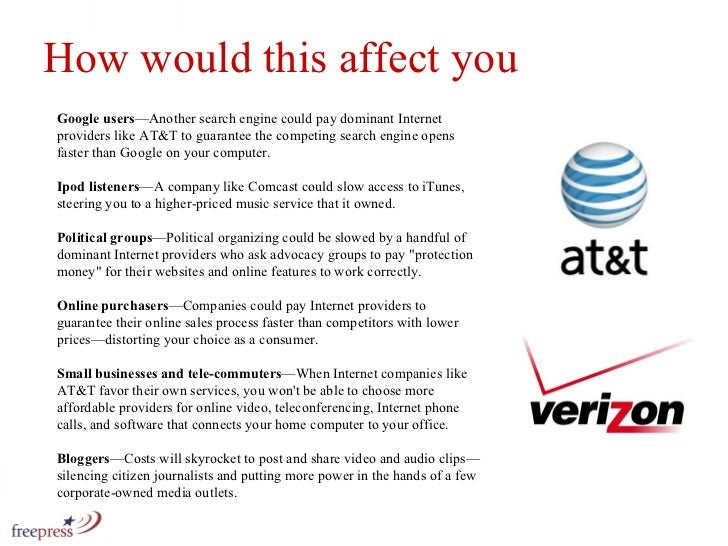 Google users —Another search engine could pay dominant Internet providers like AT&T to guarantee the competing search engi...