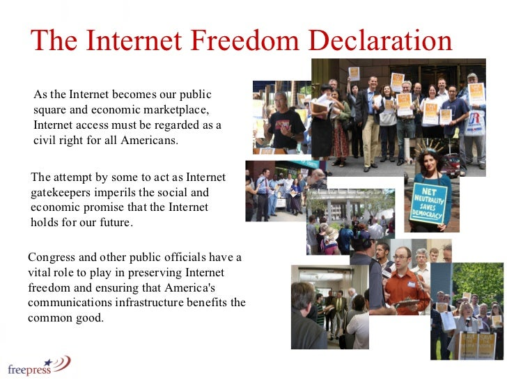 As the Internet becomes our public square and economic marketplace, Internet access must be regarded as a civil right for ...