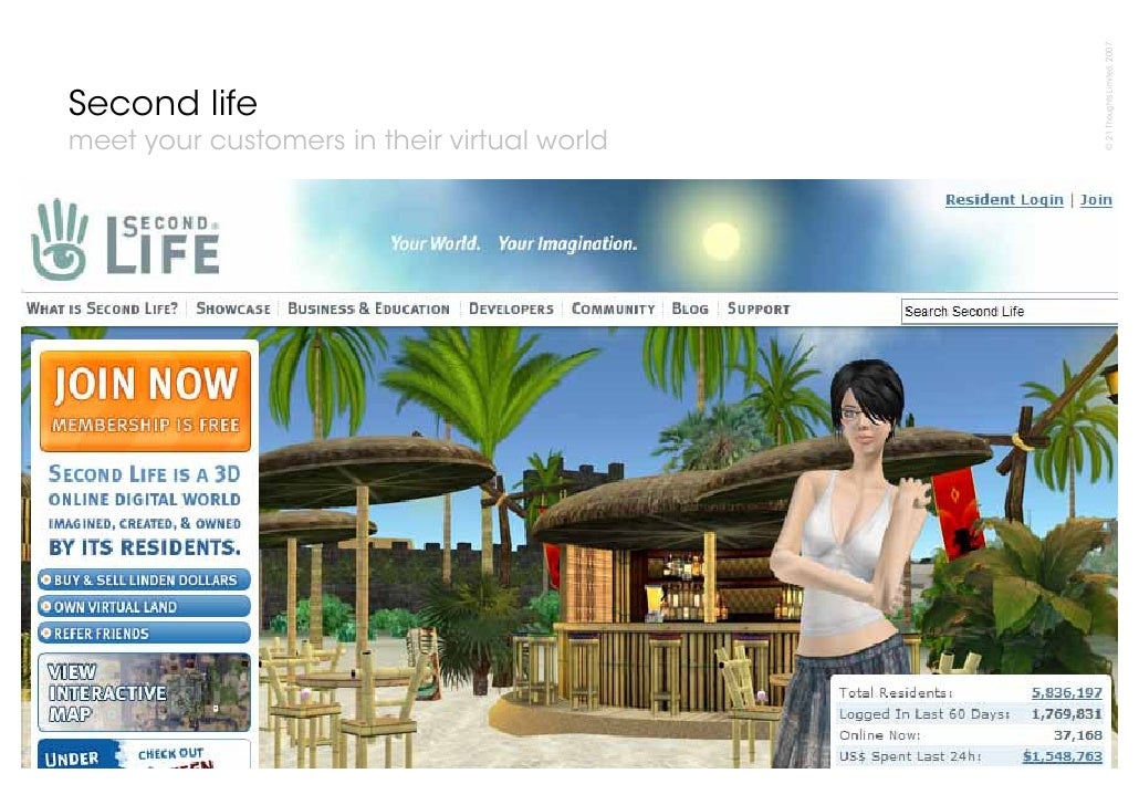© 21 Thoughts Limited, 2007 Second life meet your customers in their virtual world