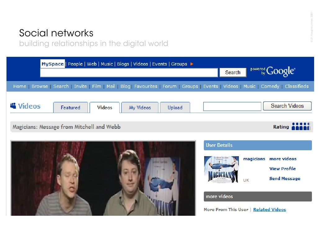 © 21 Thoughts Limited, 2007 Social networks building relationships in the digital world