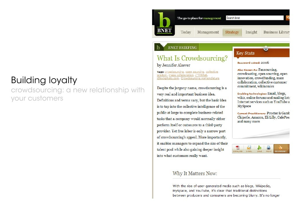 © 21 Thoughts Limited, 2007 Building loyalty crowdsourcing: a new relationship with your customers