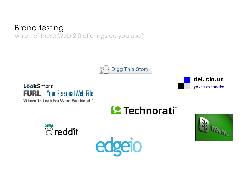 Brand testing which of these Web 2.0 offerings do you use?