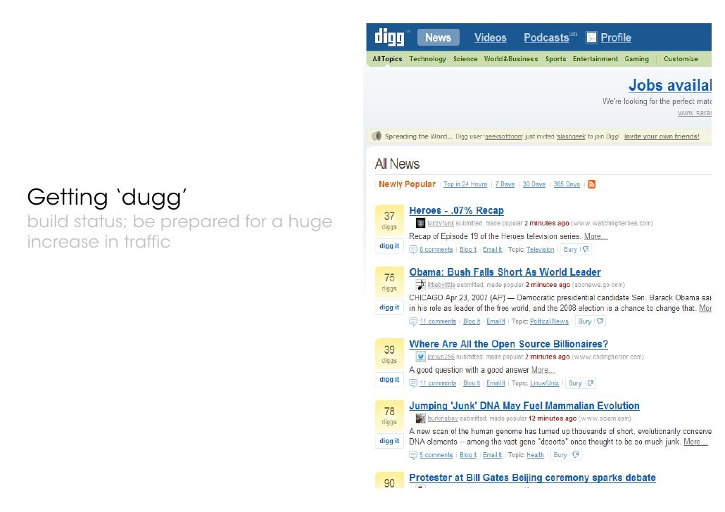 © 21 Thoughts Limited, 2007 Getting 'dugg' build status; be prepared for a huge increase in traffic
